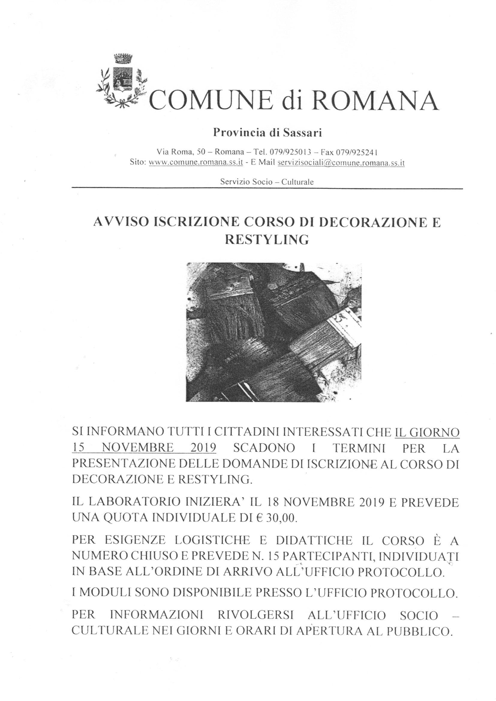 ISCRIZIONE CORSO DI DECORAZIONE E RESTYLING