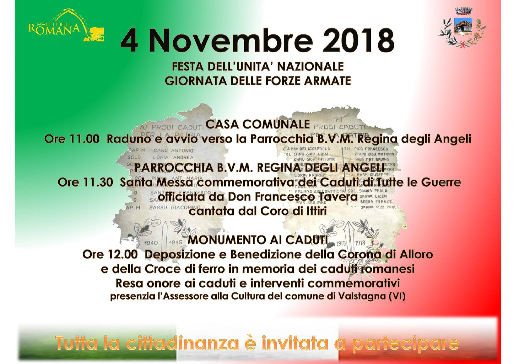 IV NOVEMBRE 2018 - COMMEMORAZIONE DEI CADUTI IN GUERRA.